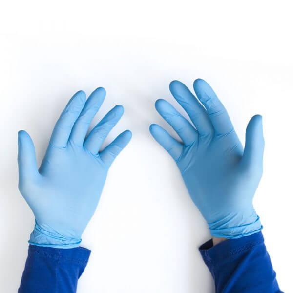 Light blue disposable nitrile gloves